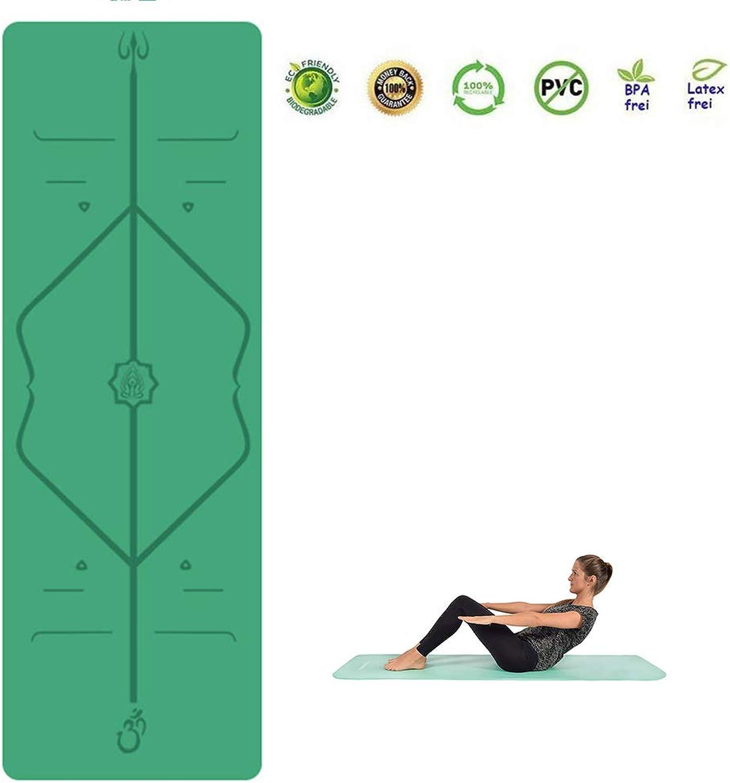 WYQWAN Yogamatte, PU Fitnessmatte, Breite 68Cm Naturkautschuk Yoga Matte, 3Mm, Mit Body Line, Ideal Für Yogis