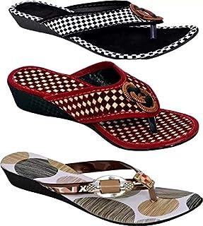 Manvi Latest Multicolor Women Flats Slippers and Flip Flops Women Combo Footwear (3 in 1).