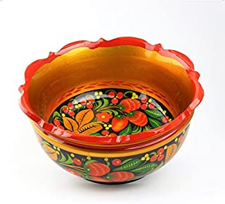 Khokhloma Bowl Hand Made in Russia Traditional Vintage Retro Classic Hand Painted Christmas Gift Decoration Soviet Hohloma Folk Art on Wooden Gift Natural Lacquered