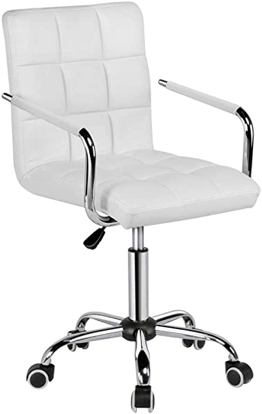 Yaheetech White Desk Chairs With Wheels Armes Modern PU Leather Office Chair Midback Adjustable Home Computer Executive Chair On Wheels 360 Swivel