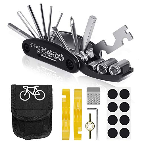 VICKSONGS Kit de Herramientas para Bicicleta, [16 Set/Aleación, Alta Dureza] Kit Pinchazos Bici, Herramienta de Reparación Multifunción para Bicicleta (A)