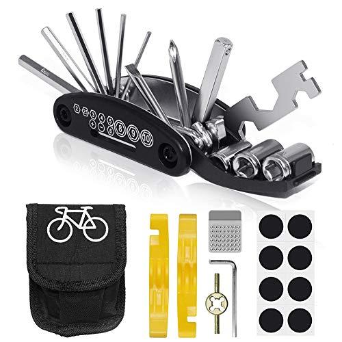 VICKSONGS Fahrradwerkzeug mit Schlauch Reparatur Set [16er Set/240g] Fahrrad Reparatur Set Reparatur Fahrradwerkzeug für unterwegs, Werkzeugset Fahrrad mit Tasche, Selbstklebendes Fahrradflicken