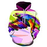 Hombres Pullover 3D Colorful Flying Eagle Print Hoodies Club Casual Street Teenager Sudaderas, M