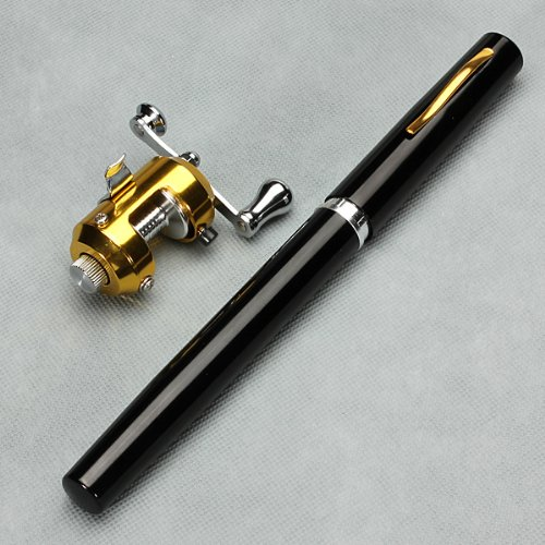 G Ganen 38inch Mini Portable Pocket Aluminum Alloy Fishing Rod Pen Great Gift (Black)