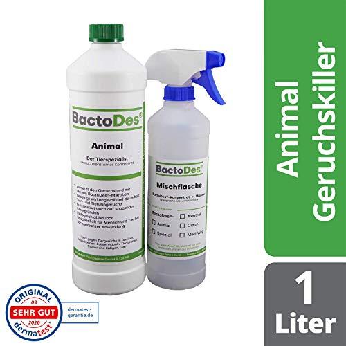 BactoDes Animal Tier Geruchsentferner - 1 Liter inkl. Mischflasche - Geruchskiller bei Katzenurin, Hundeurin und Kleintiere