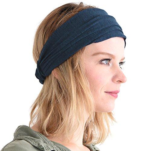 CHARM Casualbox Leinen Kopf Band Bandana natürlich elastisch Haarband Sport Mode wickeln Marine