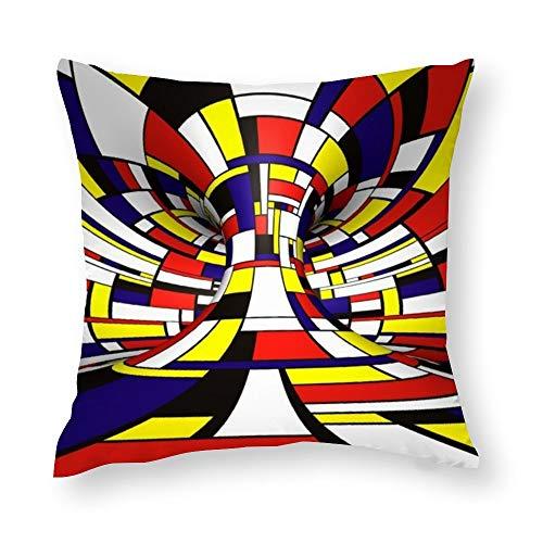 YY-one Fundas de almohada decorativas abstractas 3D estilo Mondrian funda de cojín de algodón para sofá, silla, cuadrado, 50 x 50 cm