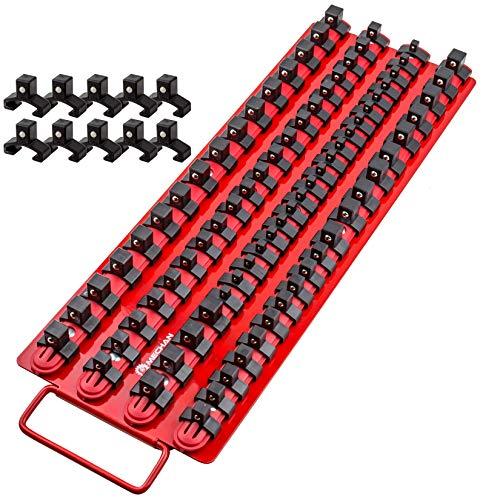 Mechan Tools 80pc Portable Socket Organizer Tray - Premium Quality Socket Tray - Adjustable Socket Holder - Sturdy Socket Rails w/Spring Loaded Ball Bearing Socket Clips For Tool Box Organization