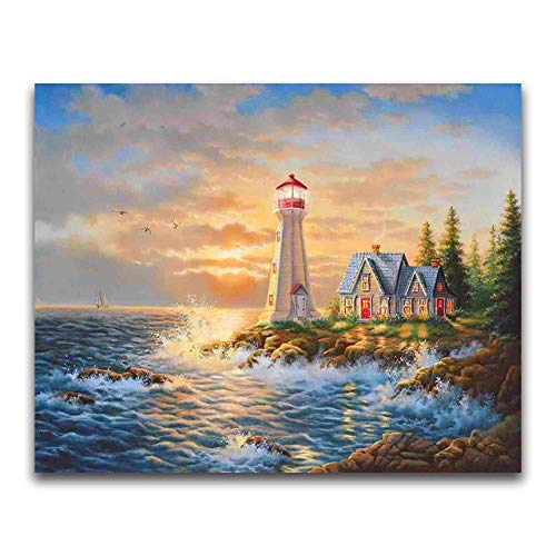 Full Round Drill 5D DIY Diamond Painting'Seaside Lighthouse' 3D Embroidery Cross Stitch 5D Home Decor Gift A12 40x50cm