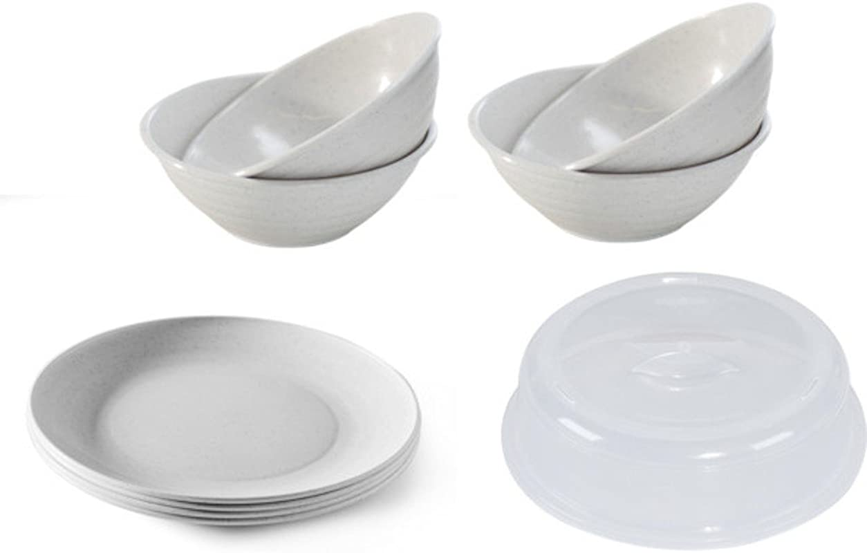 Nordic Ware Microwave Safe Plates Set Of 4 Dinner Plates 4 Cereal Bowls 10 5 Inch Splatter Cover White