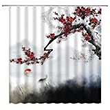 Jingjiji Japanese Koi Shower Curtain Red Plum Blossoms Bloom Branch Traditional Chinese Painting Art Zen Garden Asian Ink Abstract Painting Bathroom Decoration Polyester Fabric with Hook 70 X 70 Inch