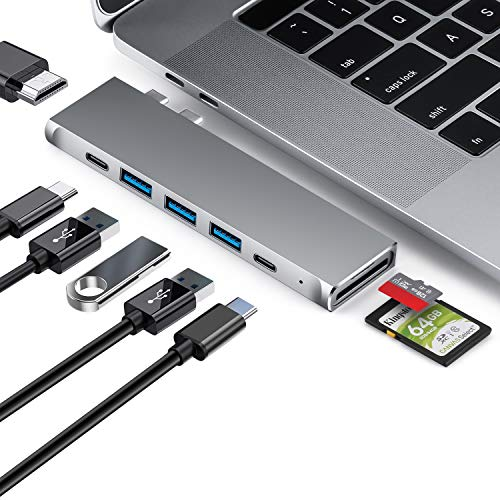 HUB USB C, Macbook pro Adattatore USB C con HDMI 4K, Thunderbolt 3, USB 3.0, USB-C 100W PD Port, Lettore schede SD/TF, Typ C Hub per MacBook Pro 13''&15'' 2019/2018 MacBook Air2020/2019/2018(Grigio)