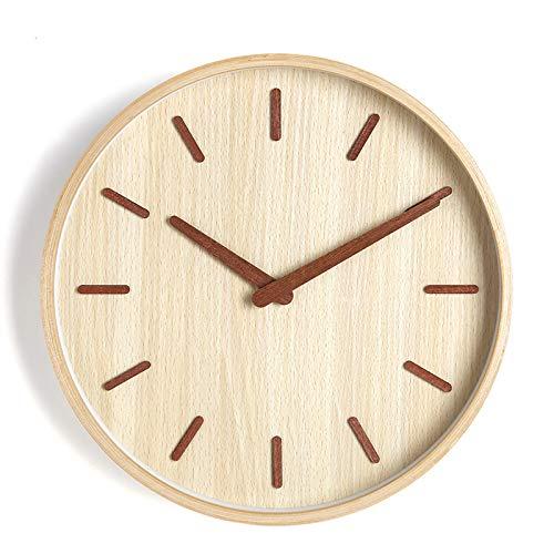 Everyday home Atmosphère minimaliste moderne nordique silencieux horloge murale cuisine chambre maison ornements en bois massif (Couleur : Couleur du bois, taille : Type D-16 inches)