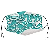 Adjustable Funny Face Masks Face Cover Mask Bandana with Filters Paper Art Carving Sea Wave Dolphin Printed Mask
