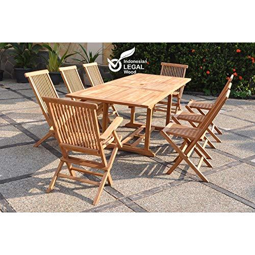 Le Sorong Mix: Salon DE Jardin en Teck Massif : 10-12 Personnes Table rectangulaire, 6 chaises et 2 fauteuils