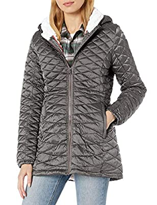 Steve Madden Women's Quilted Anorak with Hood, Special Nylon Glacier Shield Titanium, M
