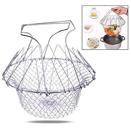 Xrten Faltbar Frittierkorb,Multifunktions Edelstahl Küche Werkzeug Frittierkorb Sieb