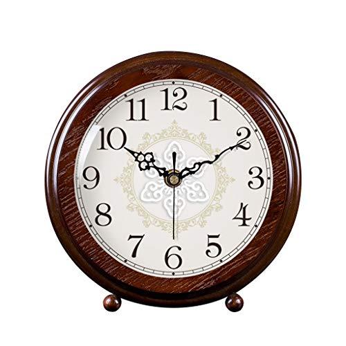 Retro Reloj de sobremesa Salón de Madera Maciza Reloj de Mesa Decoración Simple Péndulo Reloj Creativo Pequeño Reloj (Color : Brown, Size : 24cm/9.4