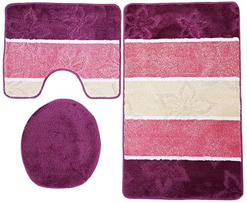 Ilkadim Orion Badgarnitur 3 TLG. Set 60x100 cm, farbig gestreift, WC Vorleger mit Ausschnitt für Stand-WC (lila Altrosa Creme Stand)