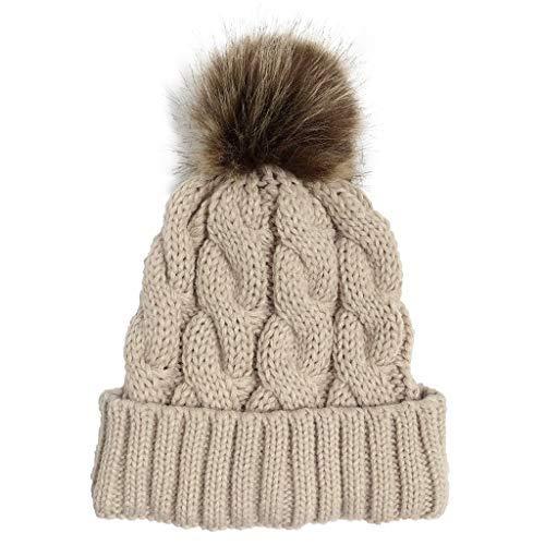 Slouch Beanie Hat Mujeres Sólido Cosido Felpa Ball Sombreros Crochet Beanie Cap