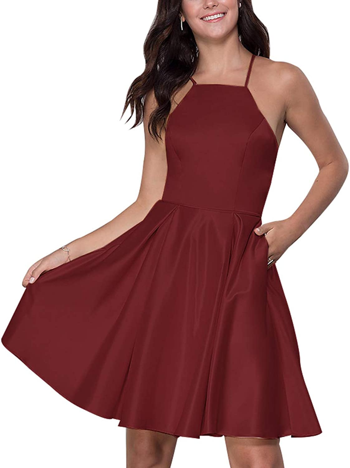 Rjer Spaghetti Strap Homecoming Dresses Short A Line Satin Evening Gowns for Women 2019 with Pockets