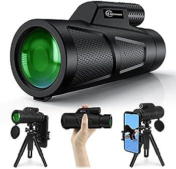 Kimwood 12X50 HD Monocular Telescope with Smartphone Adapter Tripod