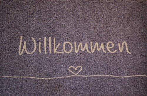 Teppich Antirutschmatte Haustürmatte Fussmatte Schmutzfangmatte Fußmatte Fussmatten draussen Deko Willkommen mit Herz und Schleife 50x75cm Höhe ca. 8 mm waschbar innen/außen Rutschfest