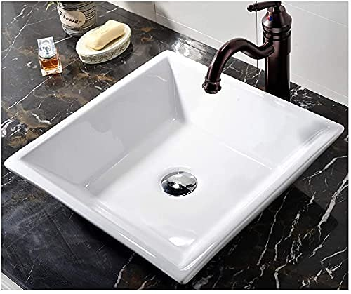 VCCUCINE Vessel Sink, White Square 16.54'X 16.54' Bathroom Porcelain Ceramic Vessel Sink, Countertop Bathroom Sink for Lavatory Vanity Cabinet