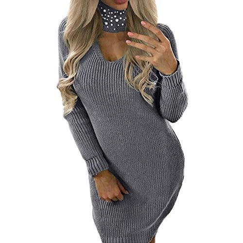 URIBAKY Damen Langarm Chunky Schöne Strickkleid Rollkragen Pulloverkleid Minikleid Longshirt Tunika Casual Sweatshirtkleid Strickpullover Pullikleid...