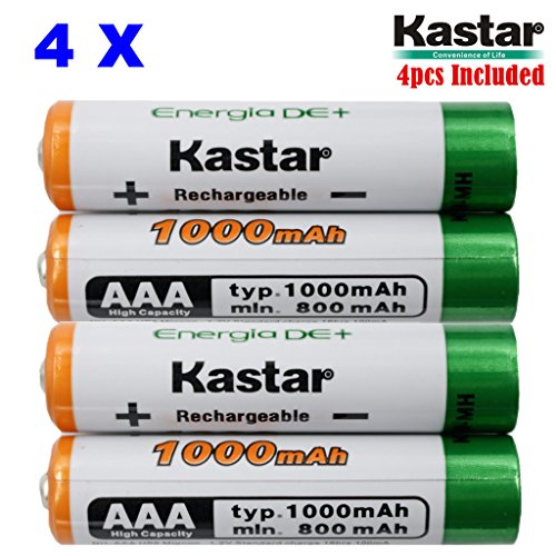 Kastar AAA 4-Pack Ni-MH 1000mAh Super High-Capacity Rechargeable Battery Pre-Charged for Panasonic HHR-4DPA HHR-55AAABU HHR-65AAABU, HHR-75AAA/BU, Solar Spinner, Garden Light, Garden Decorations