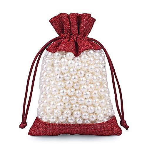 50pc Leinen Tasche Organza Sachet Nähte Kordelzug Schmuck Verpackung Beutel Hochzeitsfeiergeschenk (Color : Wine Red, Gift Bag Size : 10x14CM)