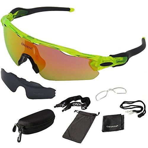 ONVAYA® Polarisierte UV400 Sportsonnenbrille 9 Teilig grün gelb   Sportbrille mit Wechselgläsern   Radbrille   Sonnenbrille   Bikerbrille   Fahrradsonnenbrille One Size