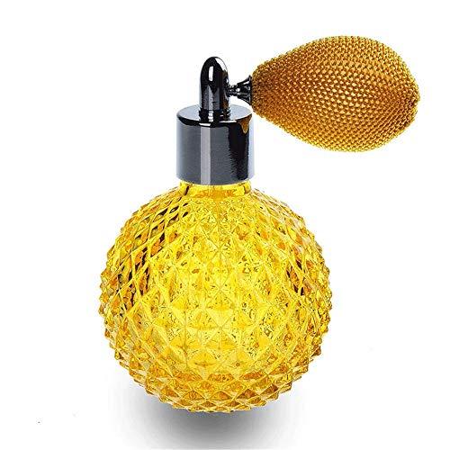 XWSH 110 ml Vidrio Amarillo vacío atomizador Borla
