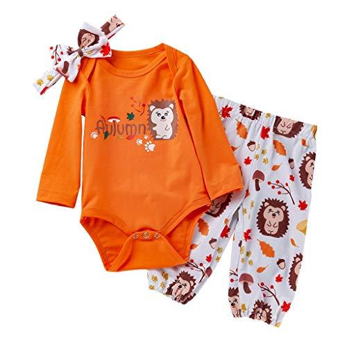 Ensemble de Pyjama Bébé Fille Vêtements de Nuit Enfants Garçon 3PC Barboteuse Pantalons Animaux Hiver Ensembles avec Bande de Cheveux Combinaison Tops Romper Sleepsuit Cosplay Pas Chère (0-3 Mois)