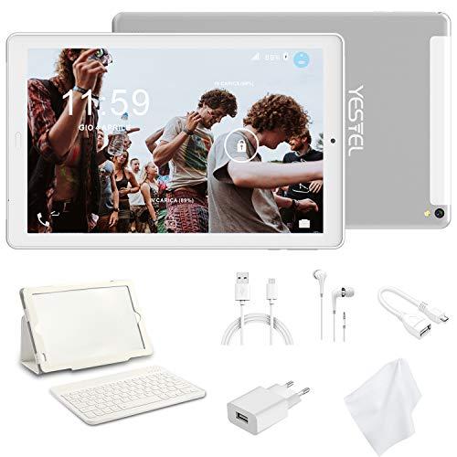 Tablet 10 Pollici con Wifi Offerte Tablet PC 4G LTE Dual SIM /WiFi tablet Android 8.0 con 3GB di RAM e 32GB ROM Batteria 8000mAh-(Sblocco Facciale,Supporta Netflix ) Bianco/Argento
