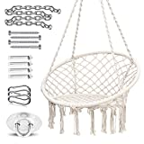 Ohuhu Hammock Chair Hanging Chair Swing with Heavy Duty Hanging Hardware Kit, Indoor Macrame Swing Chairs 100% Cotton Rope for Bedrooms, Idea Gifts for Girls Birthday (Cushion Not Included)