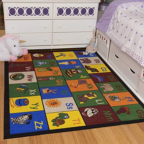 """Ottomanson Jenny Collection Children's Multi Color Educational Alphabet (Non-Slip) Kids Classroom Area Rugs, 5'0"""" X 6'6"""", Multicolor"""