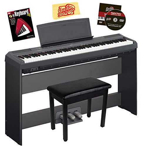 Yamaha P-115 Digital Piano Bundle with Yamaha L85 Stand, LP-5A Pedal, Furniture-Style Bench, Instructional Book, Austin Bazaar Instructional DVD, and Polishing Cloth - Black