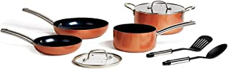 Copper Chef Black Diamond Stack-able Kitchen Cookware Set; Non-Stick, Induction Compatible Pots and Pans; Copper Chef Recipes Cookbook Included (8 Piece Round Set)