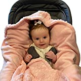 Pastel Pink Baby Car Seat Blanket for Baby and Toddler Girls by Everyday Kids; Baby Bunting Swaddle Wrap Blanket for Interior Car Seat; Cover Baby and Keep Car Seat Clean