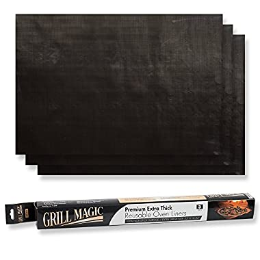 Grill Magic Non-Stick Oven Liners (3-Piece Set) – Thick, Heat Resistant Fiberglass Mat – Easy to Clean – Reduce Spills, Stuck-On Foods and Clean Up – Kitchen Friendly Cooking Accessory,FDA aproved