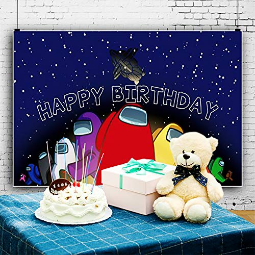 Among Us Happy Birthday Party Supplies Decoration Among Us Party Custom banner5 x 3ft Decoration photography background for photo studio newborn shower birthday party supplies banner