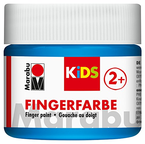 Marabu 03030050253 - Kids Fingerfarbe blau 100 ml, Fingermalfarbe auf Wasserbasis, parabenfrei, vegan, laktosefrei, glutenfrei, geeignet zum Malen in Kindergarten, Schule, Therapie und zu Hause