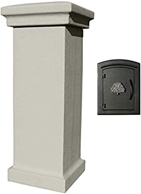 Qualarc MAN-S-STUCOL-1404-GY Manchester Stucco Column with Locking Drop Chute Mailbox in Slate Gray Color with Decorative Oak