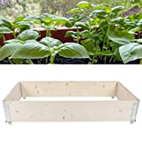Ausla Macetero de Madera para Cama de jardín Resistente a la putrefacción de Madera de Pino para huerto(L, White)