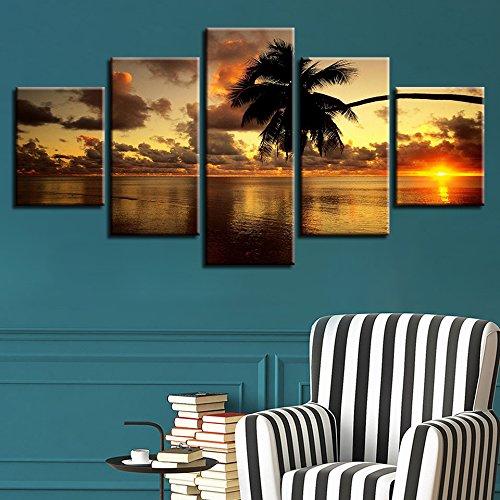 Marco de pintura moderna lienzo decorativo impresión de arte 5 tablero puesta de sol paisaje marino pared de árbol de coco imagen modular cartel de la habitación de los niños Sin marco