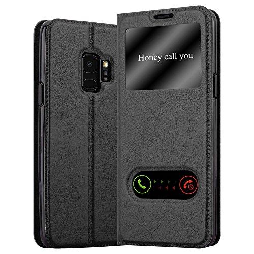 Cadorabo Hülle für Samsung Galaxy S9 in KOMETEN SCHWARZ – Handyhülle mit Magnetverschluss, Standfunktion & 2 Sichtfenstern – Hülle Cover Schutzhülle Etui Tasche Book Klapp Style
