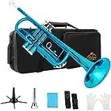 EASTROCK Trumpet Standard Brass Bb Nickel Sea Blue Trumpet Instrument with Hard Case,Five Legs Trumpet Stand,Gloves, 7C Mouthpiece, Valve Oil for Student Beginner