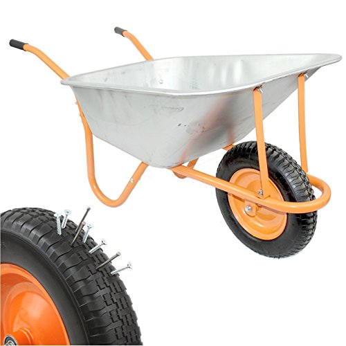Nuevo DJM Metal muy resistente carretilla de jardín con neumático a prueba de pinchazos 90litros/180kg