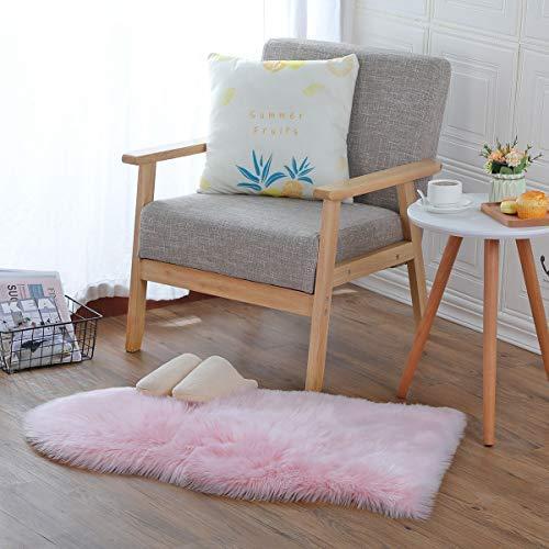 DAOXU Fell Lammfell Schaffell/Sheepskin Rug, Lammfell imitat Flauschig weich Teppiche Kunstfell,Langes Hair Nachahmung Wolle Bettvorleger Sofa Matte (Pink, 60 x 90 cm)